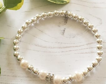 Sterling Silver and Pearl Bead Bracelet with Crystal Heart Charm