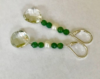 Lovely dangle earrings of green Amethyst gems, fresh water pearls and green Agate in Sterling silver.