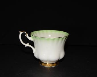 ROYAL ALBERT,  Green Rainbow, c. 1950s, Bone China, Teacup only, Gold Rimmed, England, Vintage, Gold foot, orphan teacup, mint