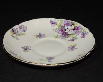 Crown STAFFORDSHIRE, Bone China, orphan teacup SAUCER ONLY, England, Vintage,numbered, Purple Violets, Hand Painted Violets +Gilding, 715972