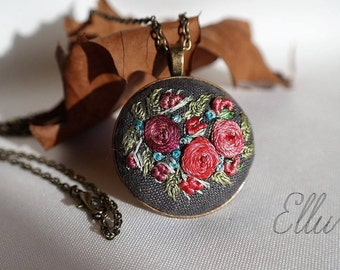 Embroidered pendant Embroidery jewelry Second anniversary gift Floral jewelry Hand embroidered necklace Nature Eco pendant Ukrainian jewelry