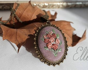 Floral embroidery necklace Bronze jewelry her Embroidered pendant Second anniversary Unusual present Botanical necklace Flower wife jewelry
