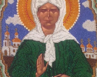 "Embroidered icon ""St. Matrona of Moscow"" (""Святая Матрона Московская"")."