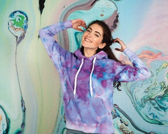 Watercolor tie dye hoodie ice dye hippie purple Women's size M Valentines day gift for her Violet Blue Pink Clothing gift