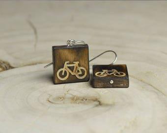 Boucles d'oreilles Carrées Bois Récupéré et Argent - Vélo