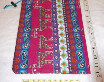 Colorful Aztec Llamas Handmade Drawstring Bag