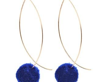 Pompom Threader Earring - Blue or Light Pink