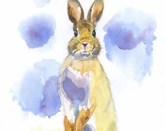 Art on Paper, A4 Watercolour Print, Wild Rabbit, Hare, Bunny Rabbit