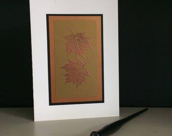 Samhain card: embossed maple leaves, individually handmade, happy Samhain, Halloween, pagan, Celtic