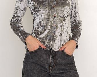 VINTAGE Grey Velvet Shiny Long Sleeve Retro Shirt