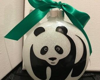 Personalized Full Size Panda Glass Ornament--Large