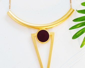 Long Triangle Necklace, Gold Geometric Necklace, Bohemian Statement Necklace, Gift For Women, Bridesmaid Jewelry, Red Wine Pendant Necklace
