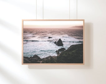 Ocean Water, Purple Ocean Print, Ocean Water Print, Pink Pastel Ocean Wall Art, Beach Art, Purple Pink Pastel Printable Poster Digital Print
