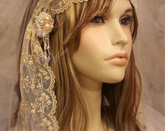 Mantilla Veil / Gold Wedding Veil / Ethereal Wedding / Boho Bridal Veil / Chapel Length Bridal Veil / Juliette Style bridal / Cathedral Veil
