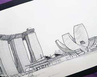 Marina bay, Singapore, ink, ink 29.5x21cm