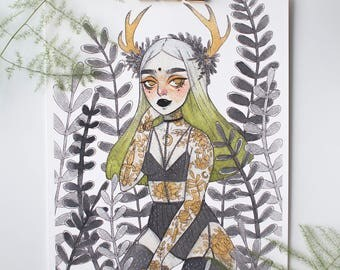 Horned Beauty Print - Signed (A5)