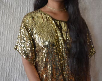 Vintage Gold Sequined Blouse