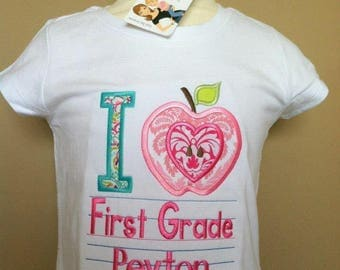 Personalized Back to School I Apple/Love ANY GRADE Shirt