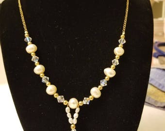 pearl, crystal and gold hadn crafted necklace