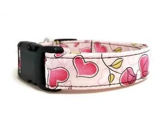 Pink Valentine Dog Collar, Valentine's Day Dog Collar, Valentine's Dog Collar, Hearts Dog Collar, Flowers Dog Collar, Pink Dog Collar