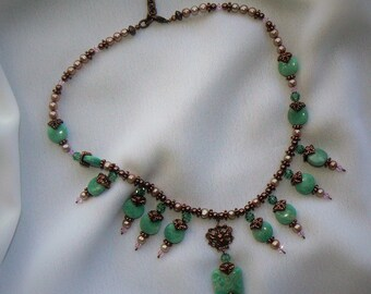 Amazonite semi precious stones necklace