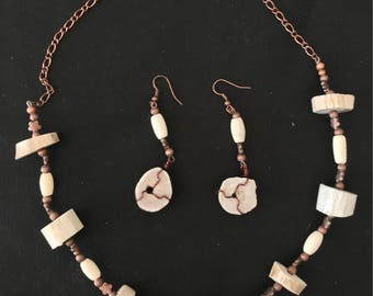 DEER ANTLER and BONE Necklace and Earring Set; Item #1312