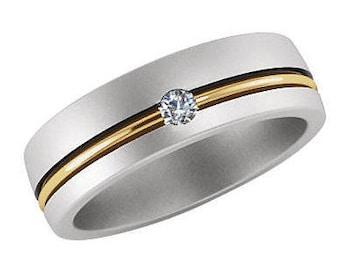 wedding band tow tone 14k gold .10ct Diamond set