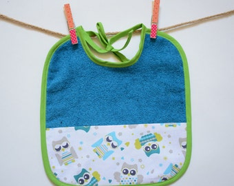 Baby tie bib Terry/cotton fabric