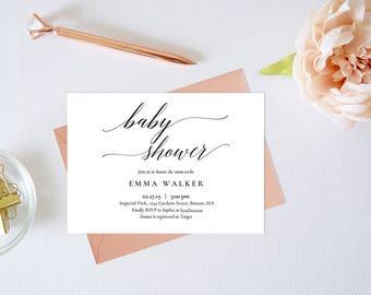 Elegant Baby Shower Invitation,Baby Shower Invitation Template,Calligraphy Baby Shower Invitation,Modern Baby Shower Invitation,Editable PDF