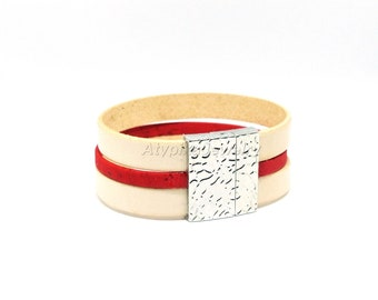 Leather strap and Cork - customizable colors