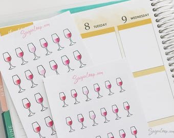 wine o'clock, planner stickers, date night, red wine, party, wedding, engagement, popcorn and movie, end of day, celebration, birthday, DRK2