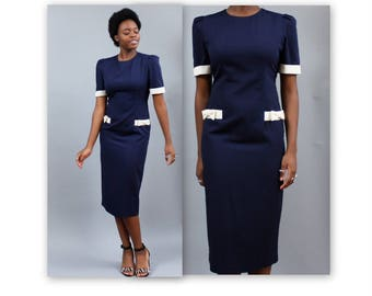 1980's Bias Cut Navy Wiggle Dress with White Trim and Bows Hourglass Below the Knee Shoulder Pads Prep
