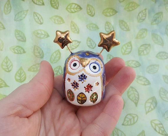 Purple Owl Sculpture with Gold Luster