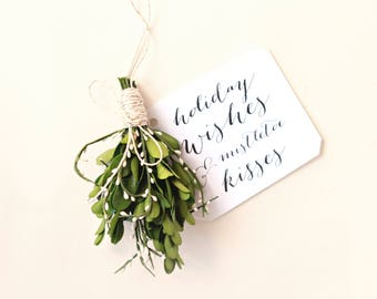 "Real ""mistletoe"" hanging, boxwood bundle, Holiday greenery decoration, kissing ornament, winter holiday wedding, Christmas keepsake gift"