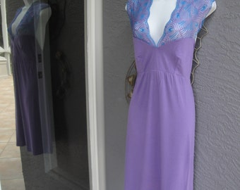 Vintage Cosabella nightgown, Purple & teal Sz Large, Made in Italy, Stretch fabric, Very low cut lace top, Sleeveless, Knee length
