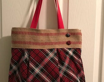 Red and Black Plaid Purse with Rustic Trim