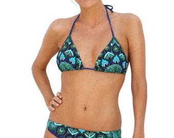 Bikini, bikini TOP, Peacock pattern, swimwear, trinagle bikini, lightly padded, swimsuit, recycled material