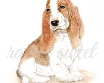 Basset Hound/ Printable/ Watercolor Instant Art/ Digital Download/ Greeting Card/ Dog Wall Art/ Home Decor/ Nursery/ Design/ Art Print/ DIY