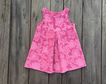 Floral Velveteen Girls Dress, Pink, Cotton, Velvet, Baby, Girl, Special Occasion, Holiday, Fashion, Boutique, Dress