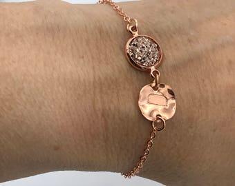 Rose gold druzy initial Bracelet, druzy gold jewelry, Druzy Bracelet, Druzy Jewelry, druzy bracelet with initial, initial druzy bracelet