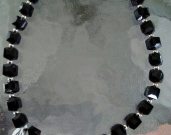 Black square crystal choker necklace