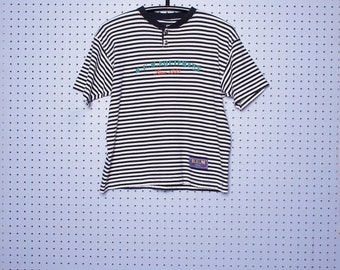 Vintage 1994 B.U.M. Equipment Striped T-shirt