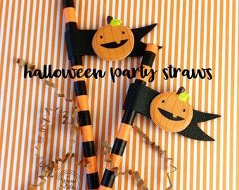 KIT-12-30 Halloween Straws / Straw Flags / Pumpkin Straws /Party Straws / Smiling Pumpkin / Drinking Straws /Halloween Party Supplies