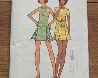 Vintage 70s butterick pattern 6658 Misses semi-fitted mini Pantdress low waistline scooped necklne  skirt panels sz 14 b36  uncut