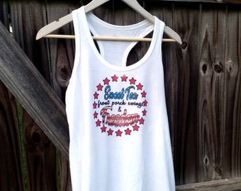 4th of July Tank Top - Ladies Sweet Tea Shirt and Freedom Vintage Style Tshirt