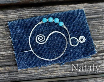 Blue Shawl Pin, Wire Wrapped Sterling Silver Scarf Pin - Fibula - Round Shawl Pin - Turquoise Jewelry - Gift-for-Mother - Spiral Shawl Pin