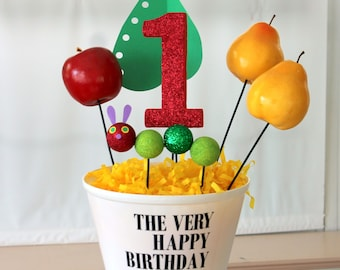 The Very Hungry Caterpillar birthday centerpiece candy dessert table decoration