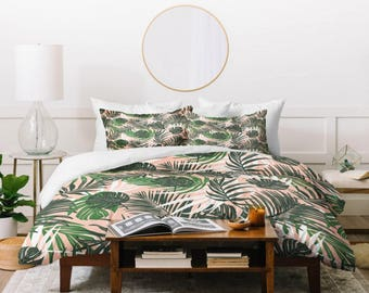 Tropical Duvet Cover // Twin, Queen, King Sizes // Bedding // Home Decor // Hideaway Design // Palm Leaves // Hawaiian Trend // Blush Pink