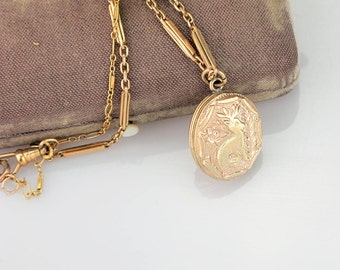 Antique Victorian Locket | Deer Engraved Antique Locket | Gold Filled Locket with Antique Chain