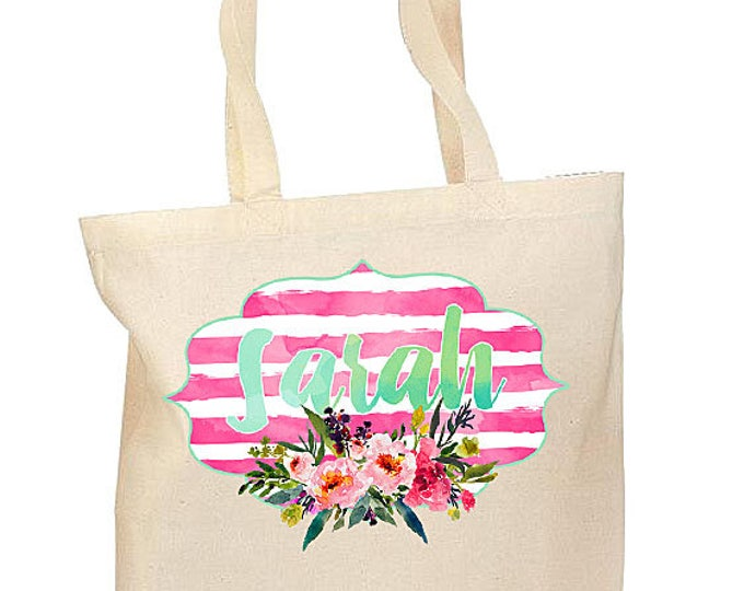 Bridesmaid Tote Bags, Personalized Floral Bags, Bridesmaid gifts, Monogrammed Canvas Bag, Bride tribe bags, Watercolor floral bag, weddings